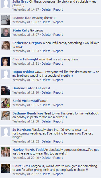 View all the Karen Millen Facebook comments