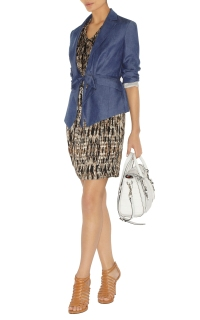 Karen Millen print dress and denim jacket
