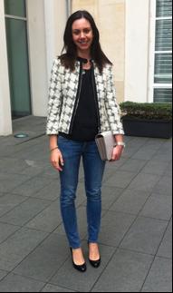 Catherine Nieto wearing her tweed Karen Millen jacket